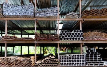 Different sizes of steel tubes