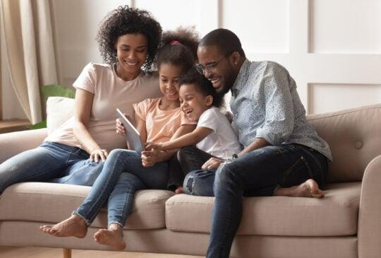 Happy black parents